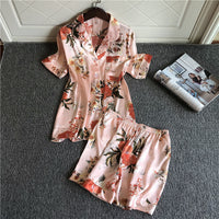 2-PCs Flower Print Pajama Short Set - Delicates By Yvonne