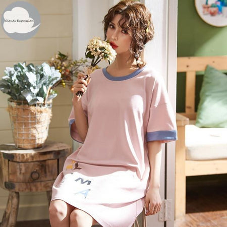 Summer Knitted Cotton O-Neck Nightwear - Delicates By Yvonne