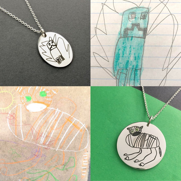 children's art into jewellery