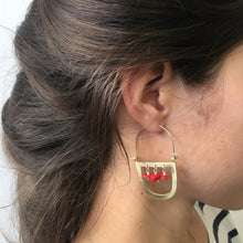 Brass Maasai earrings with red stones