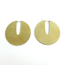 Disk style hoop designer earrings made by Savage Jewellery