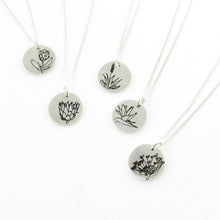 South African flowers - designer jewellery - protea, king protea, aloe, strelitzia, pincushion protea drawings on silver disks on chain