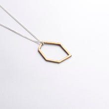 Hexagonal Pendant on Chain - silver, bronze or brass
