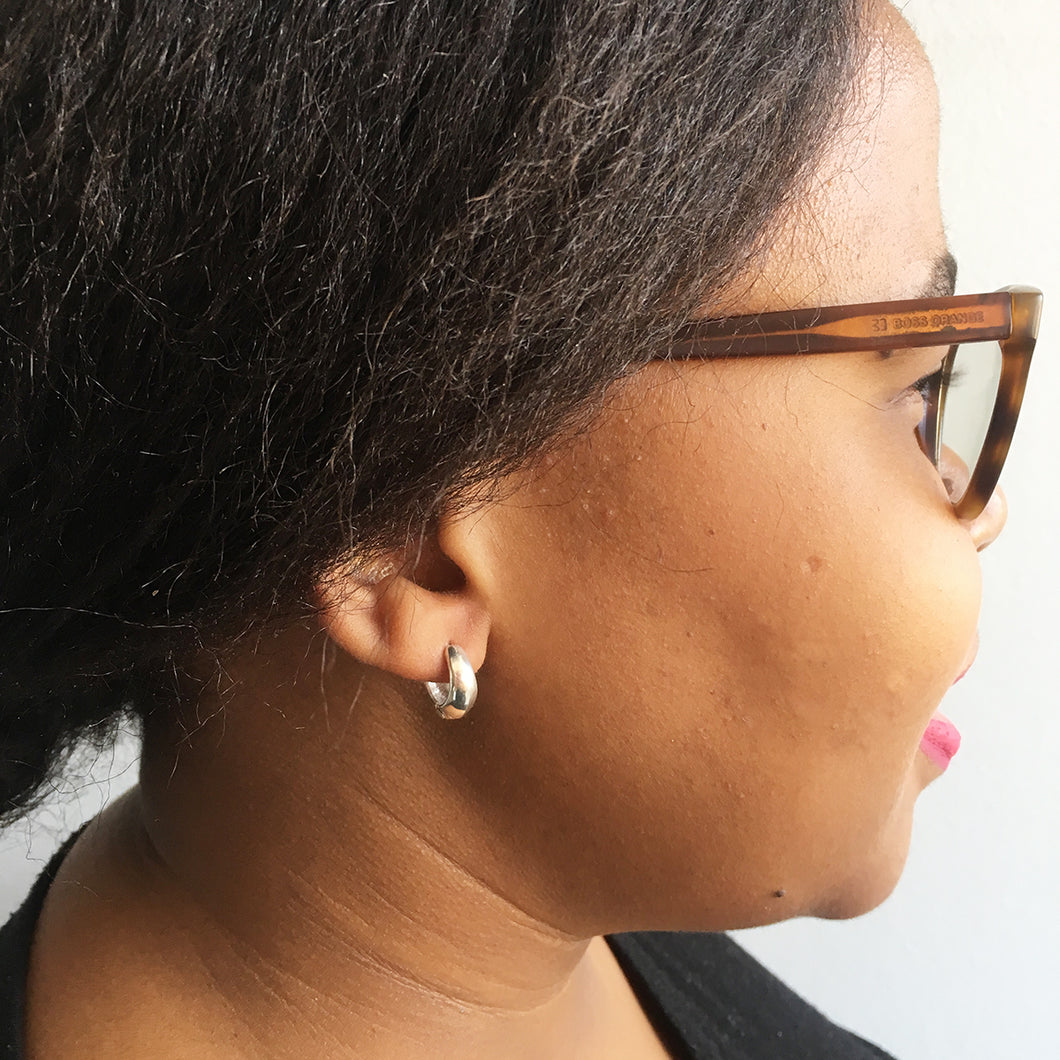 tapered huggie earrings in sterling silver by Savage Jewellery, Durban