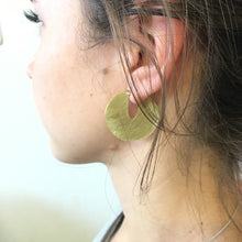 Medium disk earring in brass by Savage Jewellery