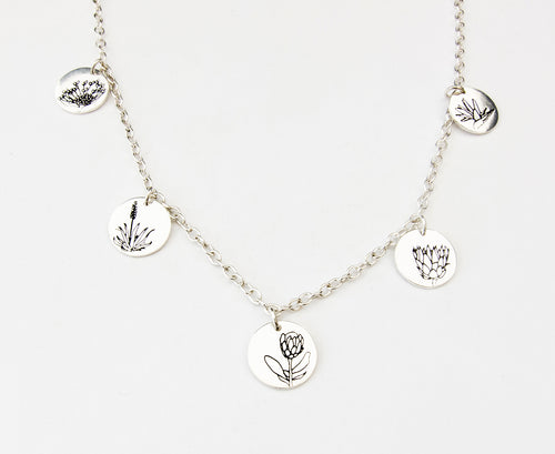 South African flower charm necklace made in Durban by Savage Jewellery