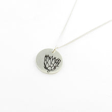 King protea disk on chain this is part of the Icon Africa range designed in Durban South Africa by Savage Jewellery