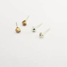 Tiny nugget studs in bronze or sterling silver designer jewelry
