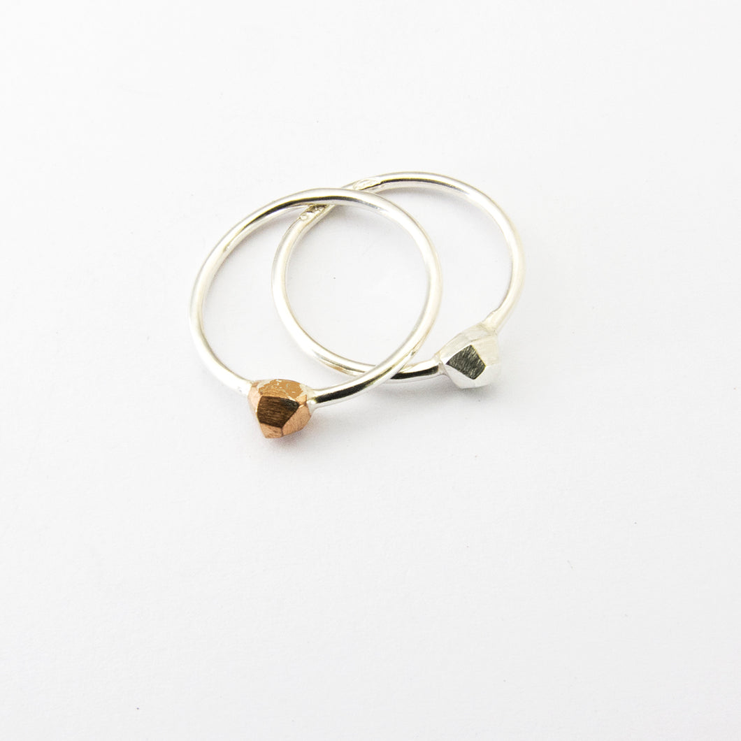 Nugget ring in either silver or bronze - tiny