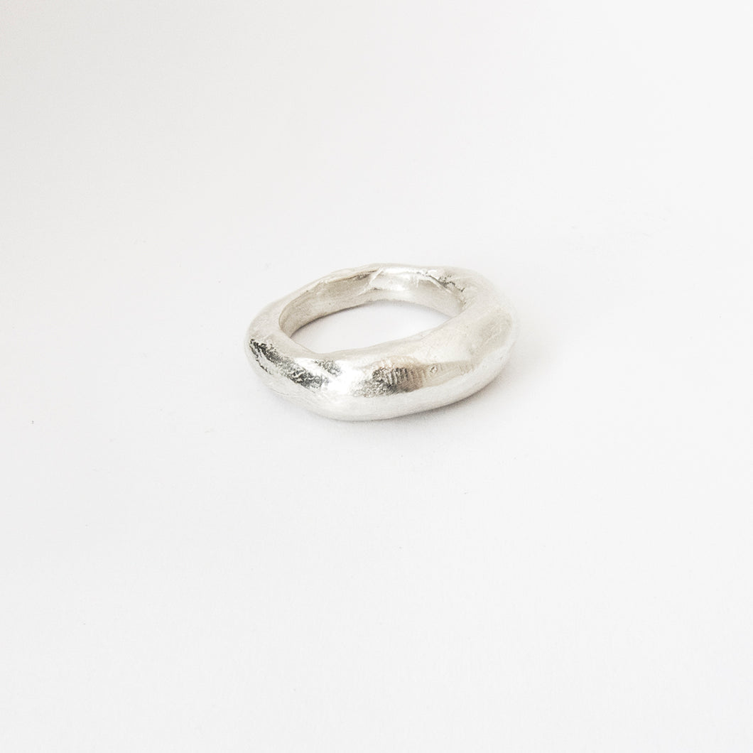 Tapered organic ring in silver, brass or bronze