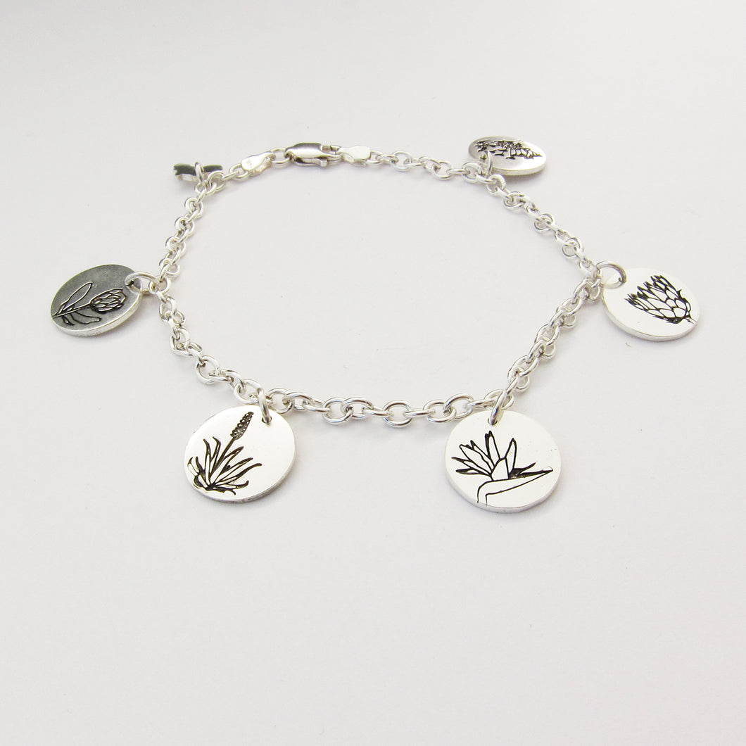 South African flower charm bracelet