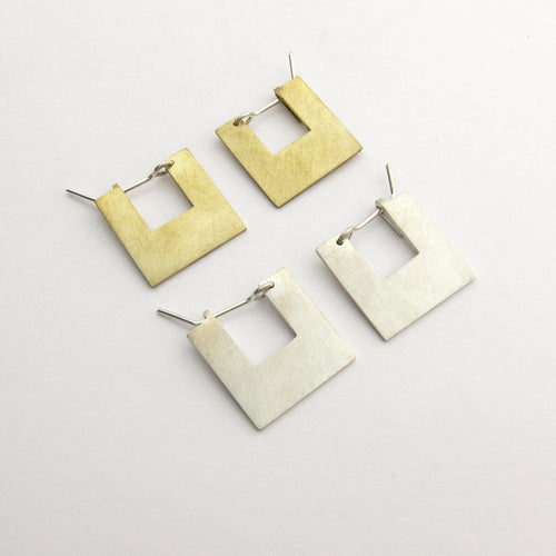 Art Deco solid square hoop earring - small