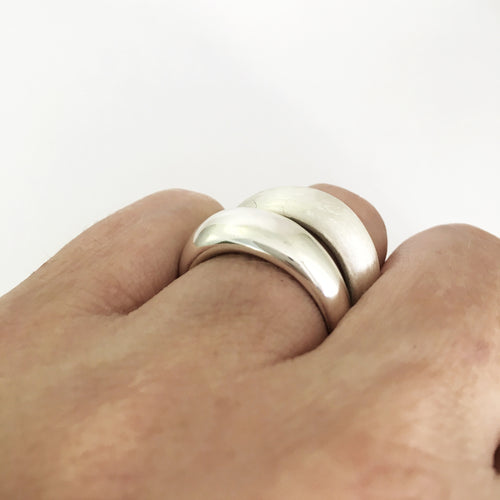 tapered dome-like ring polished or matt finish by Savage Jewellery
