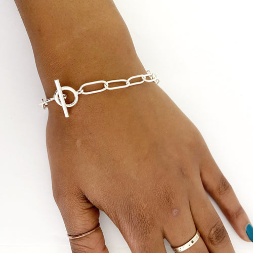 Paperclip chain bracelet in sterling silver with fob catch by designer Savage Jewellery