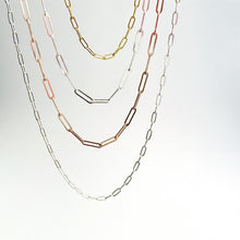 Paper clip chains in silver, rose and yellow gold by Durban designer Savage Jewellery