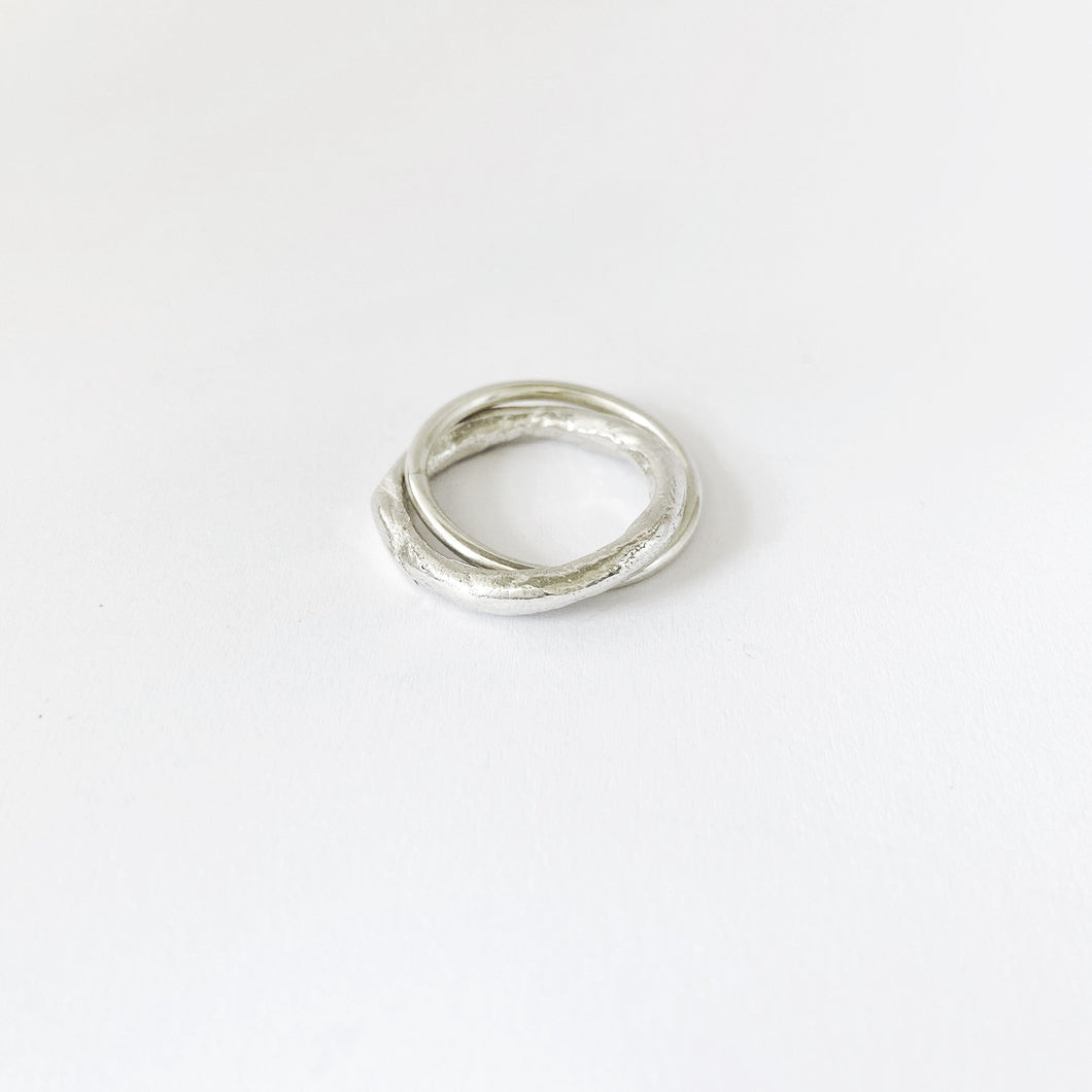 Silver Unity ring by Savage Jewellery - 3mm organic band interlinked with round 1,5mm band