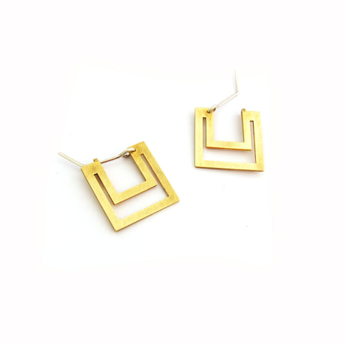 Art Deco cutout square earring - small -brass
