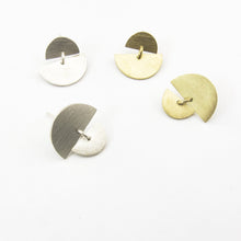 modern earrings sunrise sunset studs by savage jewellery in silver or brass