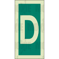 Green Letter D (150X75mm) Photoluminescent Sign