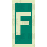 Green Letter F (150X75mm) Photoluminescent Sign