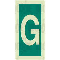 Green Letter G (150X75mm) Photoluminescent Sign