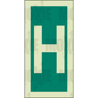 Green Letter H (150X75mm) Photoluminescent Sign