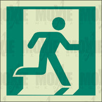 Exit Man Running Right (150X150mm) Photoluminescent Sign