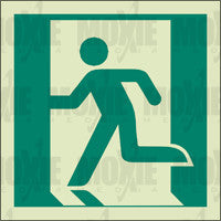 Exit Man Running Left (150X150mm) Photoluminescent Sign