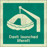 Davit Launched Liferaft (150X150mm) Photoluminescent Sign