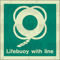 Lifebuoy With Line (150X150mm) Photoluminescent Sign