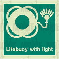 Lifebuoy With Light (150X150mm) Photoluminescent Sign