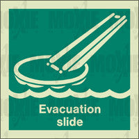 Evacuation Slide (150X150mm) Photoluminescent Sign