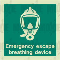 Emergency Escape Breathing Device (150X150mm) Photoluminescent Sign