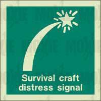 Survival Craft Distress Signal (150X150mm) Photoluminescent Sign