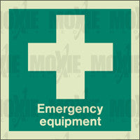 Emergency Equipment/First Aid (150X150mm) Photoluminescent Sign