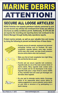 "Marine Debris: Secure Loose Articles 5"" x 8"" Vinyl Sticker"