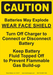 "Caution: Batteries May Explode 7"" x 5"" Vinyl Sticker"