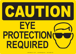 "Caution: Eye Protection Required 5"" x 7"" Vinyl Sticker"