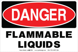 "Danger: Flammable Liquids 4"" x 6"" Vinyl Sticker"
