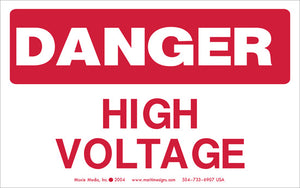 "Danger: High Voltage 3.75"" x 6"" Vinyl Sticker"