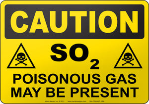 Caution: SO2 Poisonous Gas May Be Present
