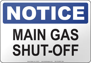 Notice: Main Gas Shut Off