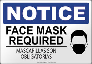 Notice: Face Mask Required (English/Spanish)