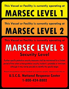 Set of MTSA-MARSEC level 1, 2 & 3 Signs