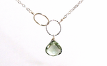 Green Amethyst Silver Necklace