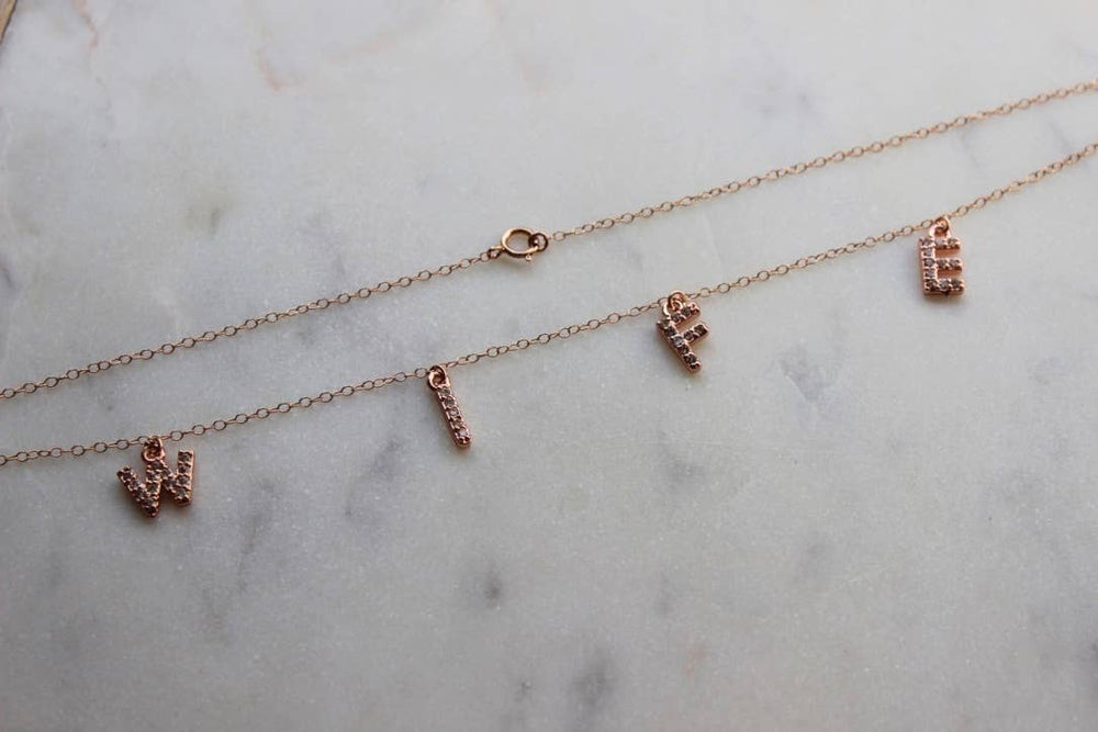 Rose Gold WIFE necklace, Wife Jewelry, Bride to be