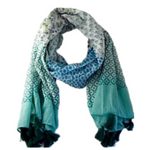 Aqua Mixed Print Cotton Scarf