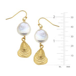 COIN PEARL OYSTER EARRINGS with ruler