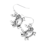 RHINESTONE PAVE ANTIQUE SLIVER METAL CRAB DANGLE EARRINGS