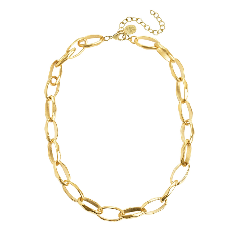 Gold Oblong Chain Necklace